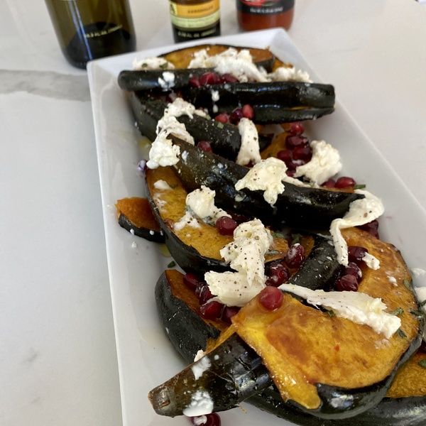 Roasted Acorn Squash with Pomegranate and Burrata