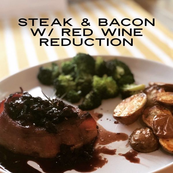 Bacon Wrapped Filet with Chocolate Balsamic Red Wine Reduction