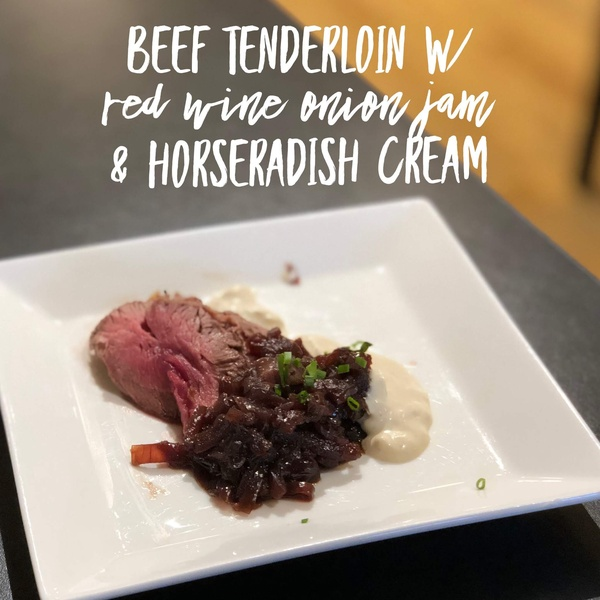 Beef Tenderloin with Red Onion Jam and Horseradish Cream